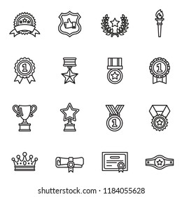 Awards icons set with white background. Thin Line Style stock vector.