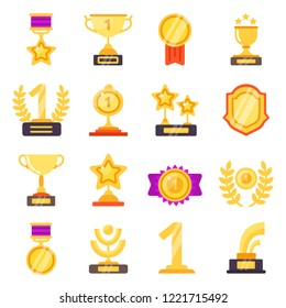 Awards icons. Trophy medal prize with ribbons for winners vector flat symbols isolated. Trophy and medal, prize and cup illustration