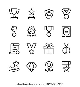 Awards icons. Vector line icons. Simple outline symbols set