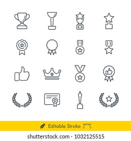 Awards Icons / Vectors Set - In Line / Stroke Design (Winner)