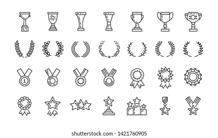 Awards line art icons set vector of Winner medal, Victory cup and Laurel wreath signs. Reward, Certificate and Diploma message symbols. Glory shield, Prize and Rank star. Sports winner awards.