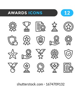 Awards line icons. Outline symbols collection. Premium quality. Vector thin line icons set