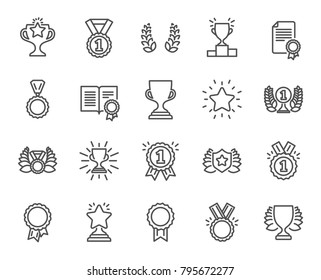 Awards line icons. Set of Winner medal, Victory cup and Laurel wreath signs. Reward, Certificate and Diploma message symbols. Glory shield, Prize and Rank star. Quality design elements. Vector