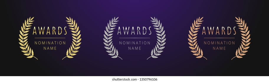 Awards logotype set. Isolated abstract graphic design template. Nominated celebrating elegant banner, decorative old tradition collection of 1 2 3 place, round shining symbols. Vector illustration.