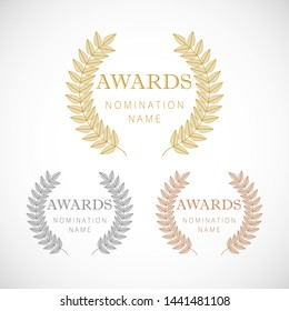 Awards logotype set. Isolated abstract graphic design template. Celebrating elegant nomination banner, decorative old tradition collection of #1 #2 #3 place, round shining symbols. Vector illustration