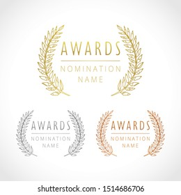 Awards logotype set. Isolated abstract graphic design template. Celebrating elegant nomination banner decorative old tradition collection of #1 #2 #3 place, round shining cup symbols. White background