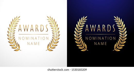Awards logotype set. Isolated abstract graphic design template. Celebrating elegant nomination emblem decorative old tradition collection of #1 place, round shining cup symbols. White, dark background