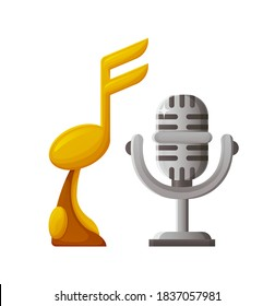 Awards made of gold and silver vector, trophy for winner of contest, note and microphone on pedestal. Mike musical prize for singer and songwriter