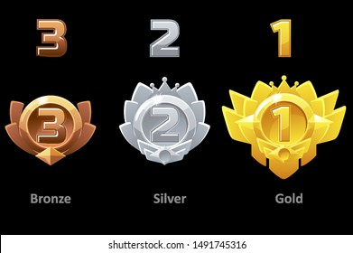 Awards medals gold, silver and bronze for Gui Game. Rewards 1st , 2nd and 3rd place. Vector template award.