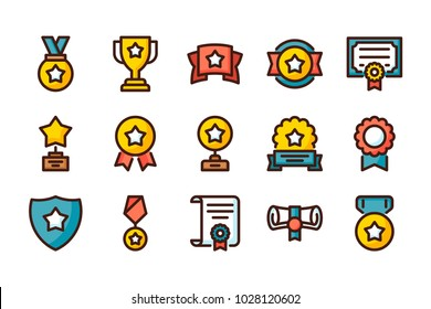 Awards related color line icons. Vector icon set.