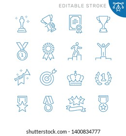 Awards related icons. Editable stroke. Thin vector icon set, black and white kit