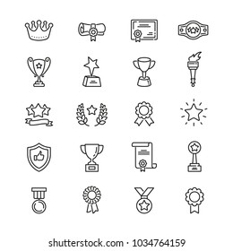 Awards related icons: thin vector icon set, black and white kit