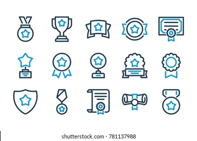 Awards related line icons. Vector icon set.