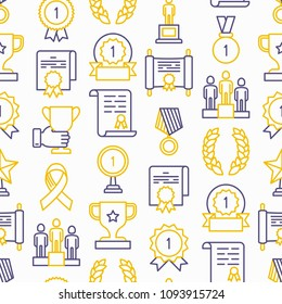 Awards seamless pattern with thin line icons: trophy, medal, cup, star, statuette, ribbon. Modern vector illustration of prizes for competition.
