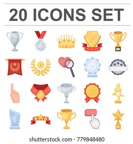 Awards and trophies cartoon icons in set collection for design.Reward and achievement vector symbol stock web illustration.