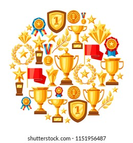 Awards and trophy background. Reward items for sports or corporate competitions.