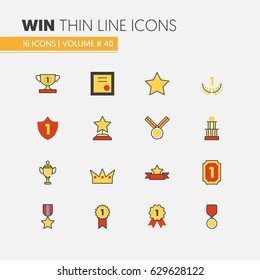 Awards and Trophy Linear Thin Line Vector Icons with Cup Medal Prize