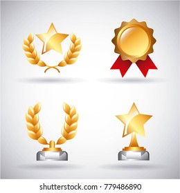 awards trophy medals and winning ribbon success icons symbols