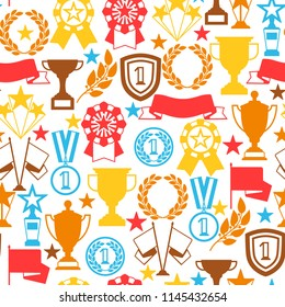 Awards and trophy seamless pattern. Reward items for sports or corporate competitions.