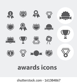 awards, trophy, victory icons set, vector