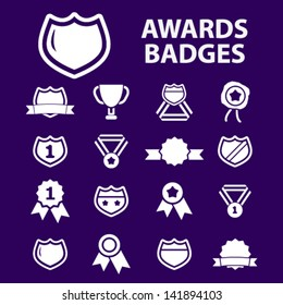 awards trophy, winning, victory, game, labels, badges, icons, signs set, vector