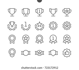 Awards UI Pixel Perfect Well-crafted Vector Thin Line Icons 48x48 Ready for 24x24 Grid for Web Graphics and Apps with Editable Stroke. Simple Minimal Pictogram Part 1-4