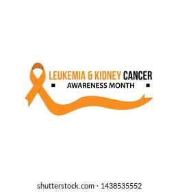 Awareness month ribbon cancer. Leukemia and kidney cancer awareness vector illustration