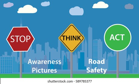 Awareness photo vector illustration - road safety message - children education poster, Flat design, colorful, city landscape in background, clouds, blue cover