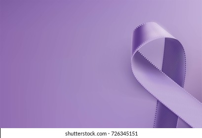 Awareness purple ribbon. Realistic purple ribbon, epilepsy awareness symbol, isolated on violet background. Vector illustration