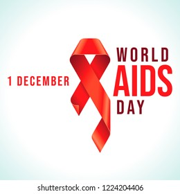 Awareness Red Ribbon - symbol for the solidarity of people living with HIV. World AIDS Day 1 December emblem. Vector EPS8 Illustration