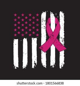 Awareness Ribbon - Breast Cancer awareness American Distressed Flag  vector