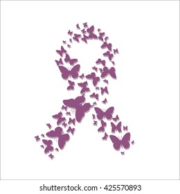 Awareness Ribbon. Ribbon in the form of butterflies against breast cancer.
