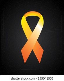 awareness ribbon over black background. vector illustration