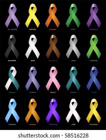 Awareness Ribbons 1 (Cancers)