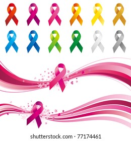 awareness ribbons design element