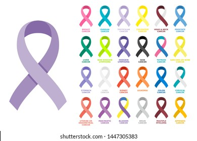 Awareness ribbons set. Different color ribbons on white background. All cancer colorful awareness bows. Collection, design element, sign, symbol, emblem, banner, poster. Vector illustration, flat.
