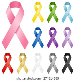 Awareness Ribbons - Set of realistic vector awareness ribbons in 12 different colors.  Each ribbon element is grouped separately for easy editing.