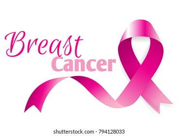 Awareness woman October month. Pink ribbon with soft shadow support charity against breast cancer. Medical banner. Survivor concept poster female day card.