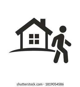 Away from home icon. Leaving home. Walking outside. Outdoors. Vector icon isolated on white background.