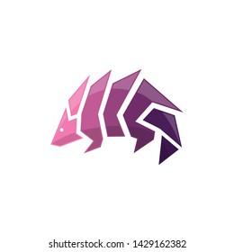 Awesome armadillo logo design vector
