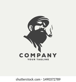 awesome bearded man logo design
