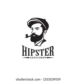 awesome bearded  man logo with Pipe Tobacco design template