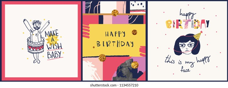Happy Birthday Card Red Hair Girl Stock Vector Royalty Free