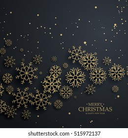 awesome black background with gold snowflakes for merry christmas