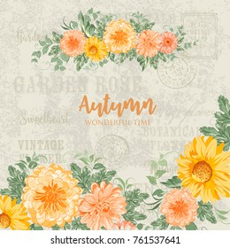 Awesome blooming flowers for autumn card design. Flower wreath over gray text pattern background. Vector illustration.
