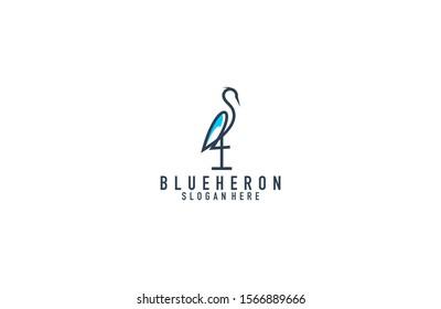 Awesome blue heron line art logo design