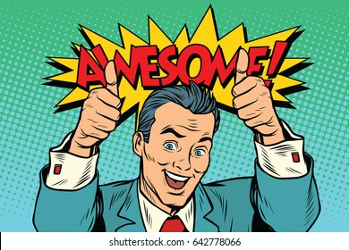 awesome businessman two like gesture, thumb up. Pop art retro vector illustration drawing