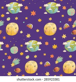 Awesome cosmic seamless pattern with earth, moon, ufo, stars and comets. Lovely little boy on planet in water color technique. Bright childish background about solar system in cartoon style
