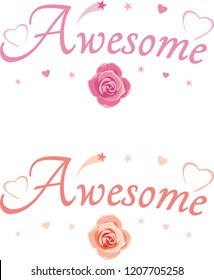 Awesome. Decorative inscription for design. Vector