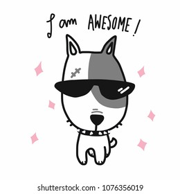 I am awesome dog wear sun glasses cartoon vector illustration doodle style